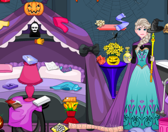 Elsa And Anna Halloween Room Cleaning