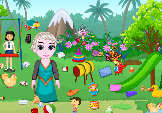 143 cooking games-Little Girl Park Cleaning